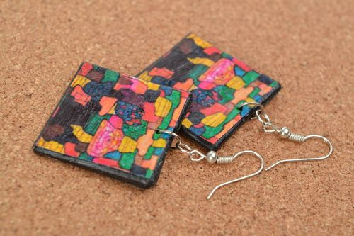 Handmade decoupage square plastic earrings Kaleidoscope - MADEheart.com