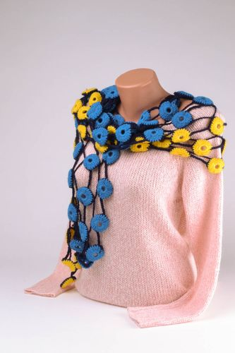 Blue and yellow crochet scarf - MADEheart.com