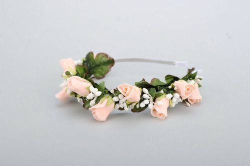 Headband with artificial flowers - MADEheart.com
