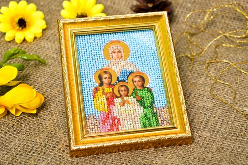 Handmade orthodox icon embroidered designer icon beautiful home amulet - MADEheart.com