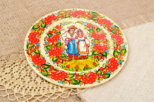 Handmade stylish wooden plate unusual home decor plate in ethnic style - MADEheart.com