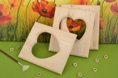 Set of 3 handmade wooden craft blanks for photo frames with heart shaped cuts - MADEheart.com