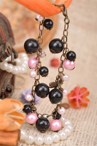 Handmade designer womens metal chain wrist bracelet with black and pink beads  - MADEheart.com