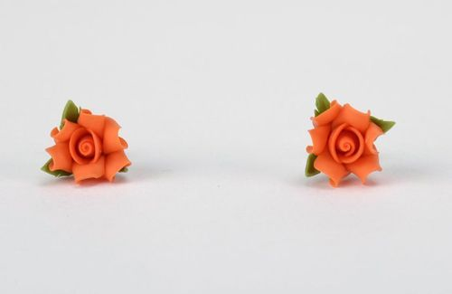 Polymer clay stud earrings Orange Rose - MADEheart.com