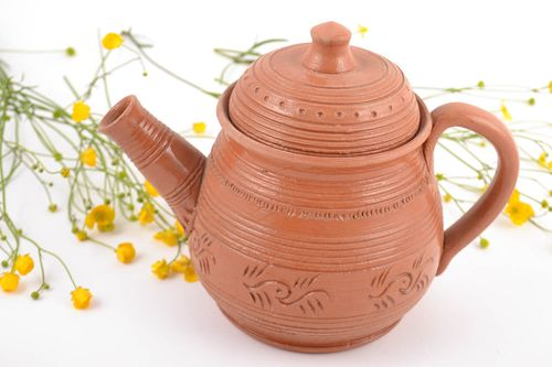 Homemade designer ceramic teapot with pattern 600 ml - MADEheart.com