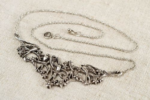 Hand crafted metal necklace elegant women accessory fashion gift idea  - MADEheart.com