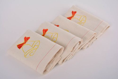 Handmade napkins with embroidery made of semi linen set of 4 pieces with bells - MADEheart.com