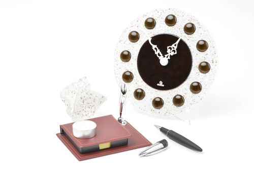 Handmade gift set 2 pieces glass wall clock glass candlestick glass fusing - MADEheart.com