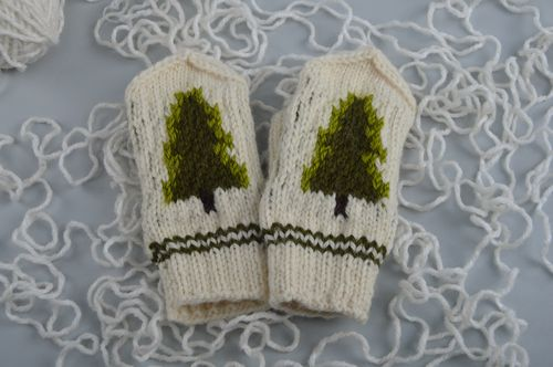 Handmade small mittens knitted of natural wool with fir trees Christmas present - MADEheart.com