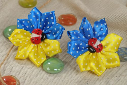 Handmade set of scrunchies made of satin ribbons yellow-blue flowers 2 pieces - MADEheart.com