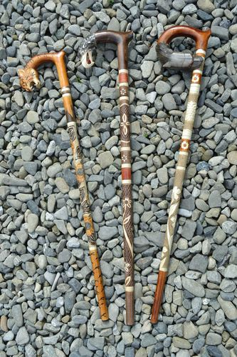 Set of 3 handmade art carved wooden walking sticks with animal heads handles - MADEheart.com