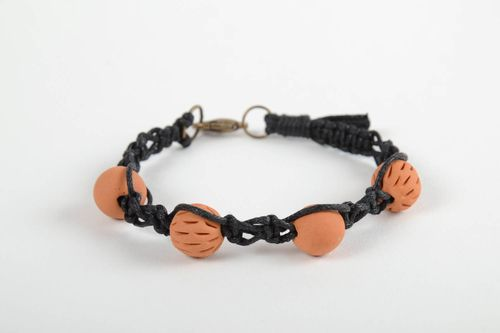 Stylish handmade woven cord bracelet ceramic bracelet fashion accessories - MADEheart.com