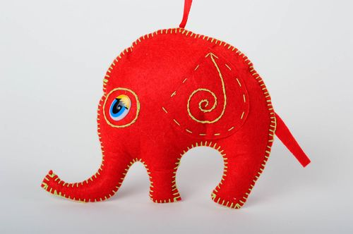 Handmade cute soft pendant unusual toy made of felt red elephant for kids - MADEheart.com