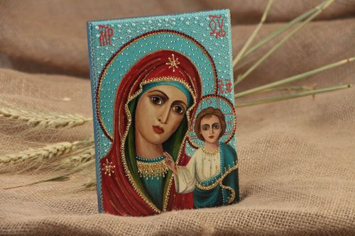 Handmade orthodox icon painted with gouache on wooden basis with rhinestones - MADEheart.com