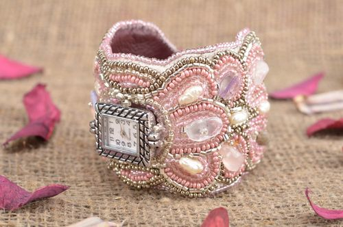 Pink handmade designer unusual wrist watch made of beads on leather basis - MADEheart.com