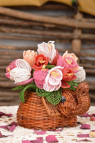 Decorative woven ornamental flowerpot for home with flowers made of beads  - MADEheart.com