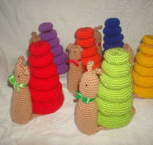 Handmade educational crochet toy snail - MADEheart.com