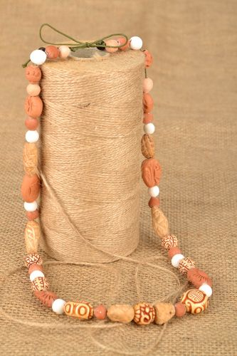 Homemade clay bead necklace - MADEheart.com