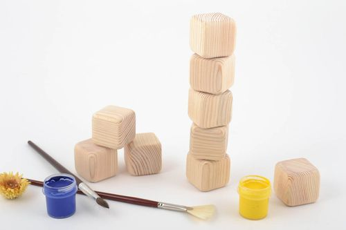 Set for painting handmade wooden toys cubes set of 9 pieces - MADEheart.com