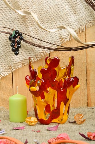 Handmade bright decorative red and yellow fused glass candle holder for interior - MADEheart.com