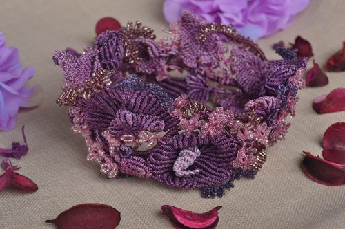 Beautiful handmade textile necklace woven bead necklace beautiful jewellery - MADEheart.com