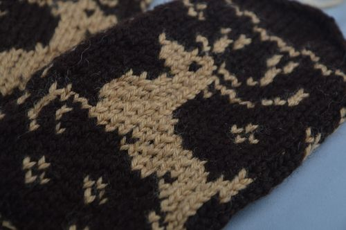 Handmade warm winter mittens knitted of wool with fancy ornaments Deer for men - MADEheart.com
