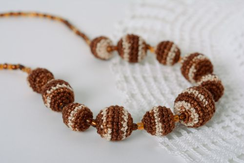 Handmade teething bead necklace crocheted of cotton threads of chocolate color - MADEheart.com