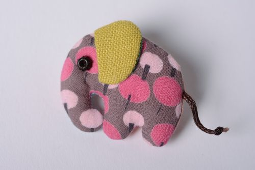 Handmade designer soft fabric brooch in the shape of colorful elephant - MADEheart.com