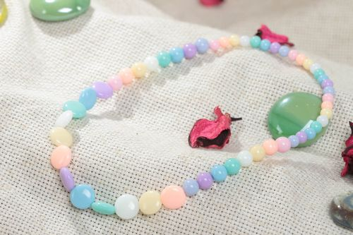 Handmade designer long childrens plastic bead necklace of pastel colors - MADEheart.com