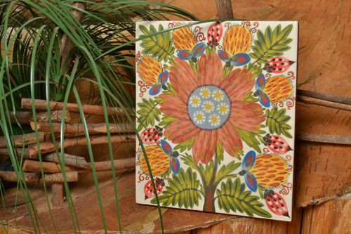 Ceramic handmade tile painted with glaze beautiful square wall panel - MADEheart.com