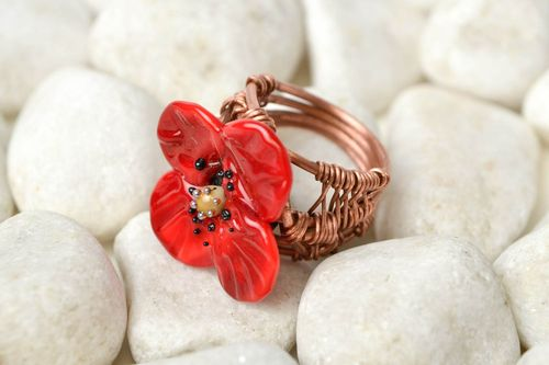 Handmade ring designer accessory gift for her unusual ring with flowers - MADEheart.com