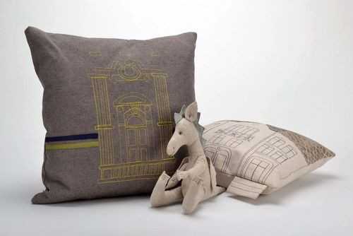 Pillow made from cotton and synthetic down with embroidery Columns - MADEheart.com