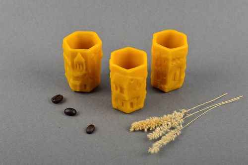 Handmade beeswax 3 shot glasses unique healthy tableware unusual designer gift - MADEheart.com