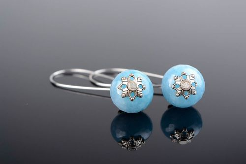 Ball Earrings with aquamarine - MADEheart.com