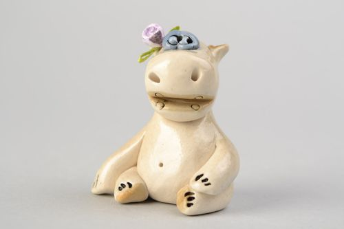 Ceramic decorative handmade painted figurine of Hippo for nursery interior  - MADEheart.com