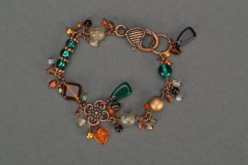 Designer beautiful handmade bracelet made of Czech glass and copper Fall - MADEheart.com