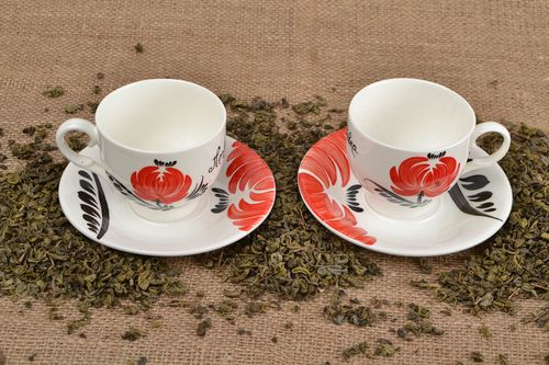 Handmade cup with saucer designer porcelain tableware ceramic cup with saucer - MADEheart.com