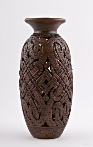 12 inches tall brown decorative vase with carvings 2 lb - MADEheart.com