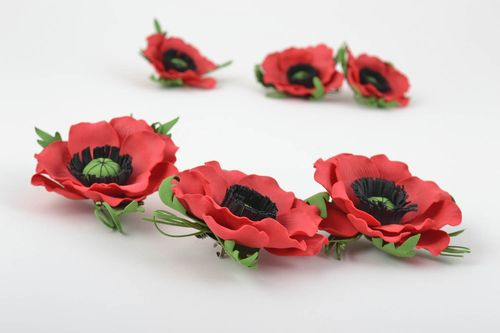 Set of 3 handmade textile barrettes textile brooches foamiran flowers in hair - MADEheart.com