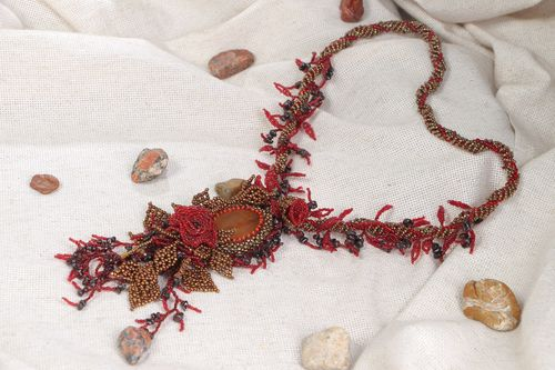 Handmade dark red floral necklace woven of seed beads and natural stones  - MADEheart.com