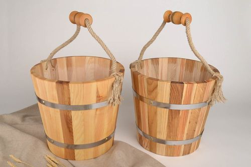 Handmade wooden bucket for sauna bath accessories sauna bucket present for men - MADEheart.com