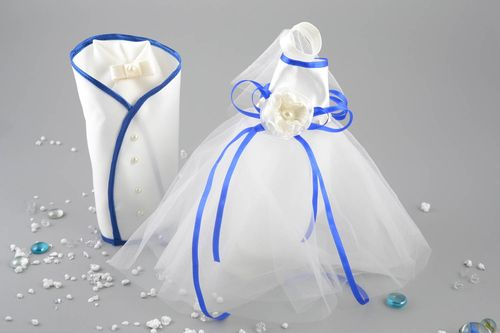 Set of white and blue handmade designer wedding bottle covers bride and groom - MADEheart.com