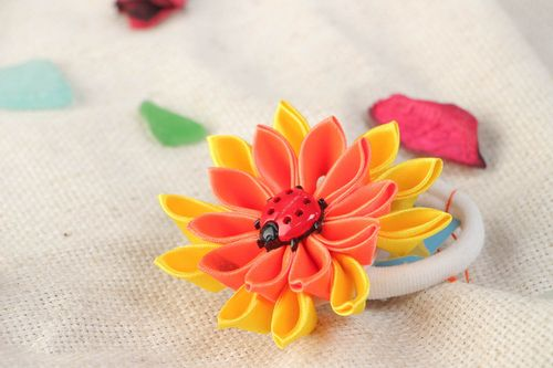Handmade scrunchy with bright yellow and orange large flower made using kanzashi technique - MADEheart.com
