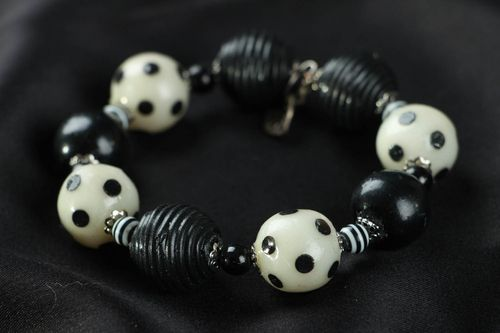 Black and white polymer clay bracelet  - MADEheart.com