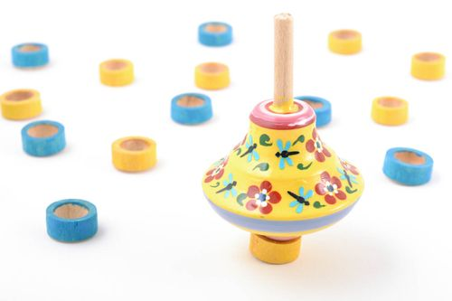 Bright painted wooden spinning top eco toy for children - MADEheart.com