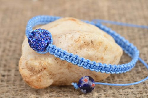 Blue woven adjustable unusual cute wrist bracelet made of laces with bead - MADEheart.com