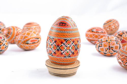 Painted Easter goose egg with rich pattern - MADEheart.com