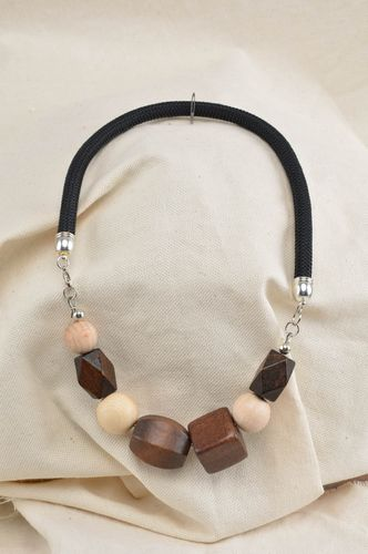Handmade beaded jewelry necklace made of wood unusual stylish accessory - MADEheart.com