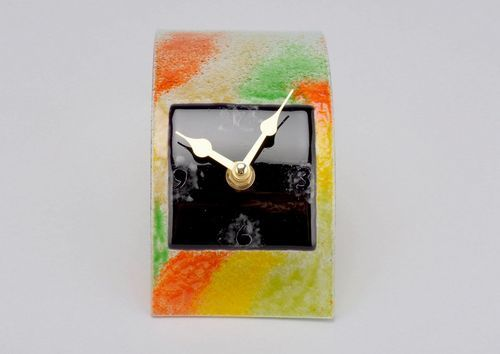 Glass desktop clock Black Square - MADEheart.com