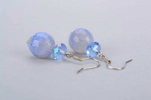 Earrings with aquamarine and crystal - MADEheart.com